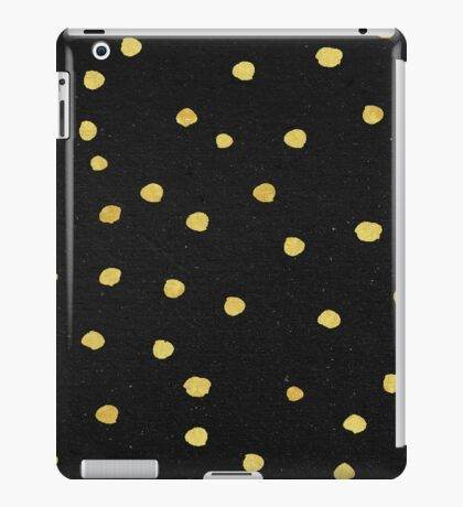 Gold Dots - Modern Yellow Gold Dots on Black Pattern iPad Case/Skin
