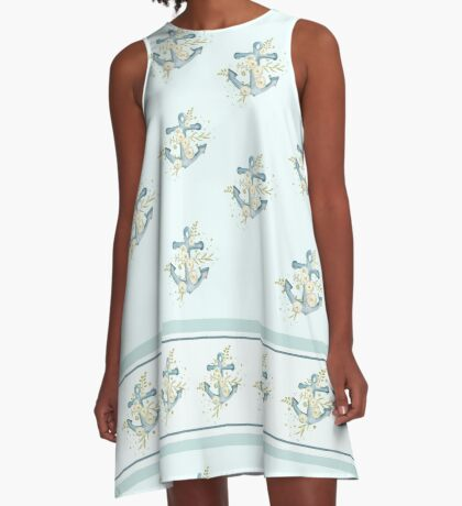 Blue floral anchors away A-Line Dress