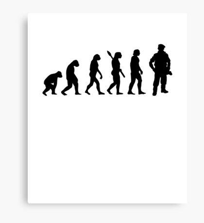 Human evolution of army man Canvas Print