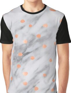 Marble - Shimmery Rose Gold Pink Dots Pattern on Real Marble Graphic T-Shirt