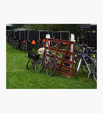 Amish Buggies, Bikes, and Straw Hats Photographic Print