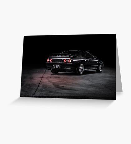 Black R32 Nissan Skyline GTR - Lightpainted Greeting Card