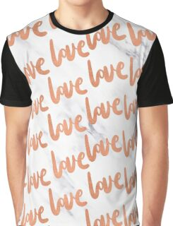 Valentines Day Rose Gold Marble Love Word Design Graphic T-Shirt