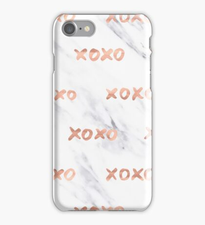 Valentines Day Rose Gold Marble Words - XOXO Typography iPhone Case/Skin