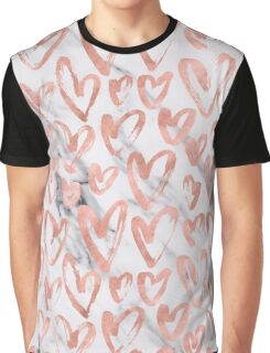 Valentines Day Rose Gold Marble Hearts Pattern Romantic Graphic T-Shirt