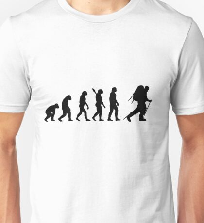 Human evolution of snow treking man Unisex T-Shirt