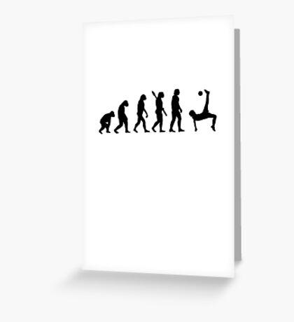 Human evolution of soccer man Greeting Card