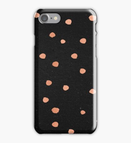 Shimmery Rose Gold Dots on Black Pattern iPhone Case/Skin