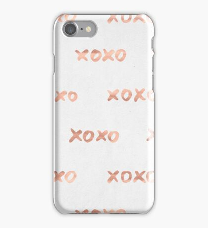 Valentines Day Rose Gold Words - XOXO iPhone Case/Skin
