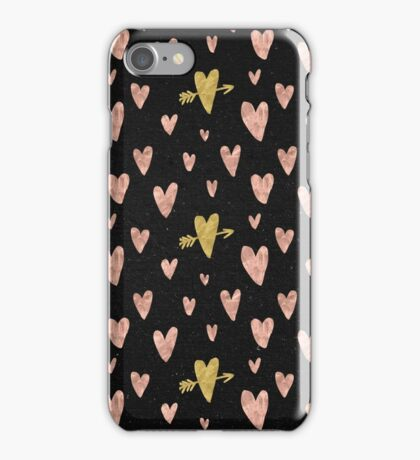 Valentines Day Rose Gold Hearts with Yellow Gold Pattern on Black iPhone Case/Skin