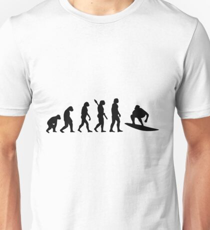 Human evolution of surfing man Unisex T-Shirt