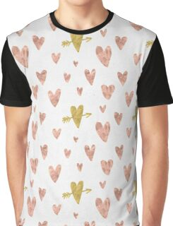 Valentines Day - Rose Gold Hearts with Yellow Gold Hearts Pattern Romantic Graphic T-Shirt