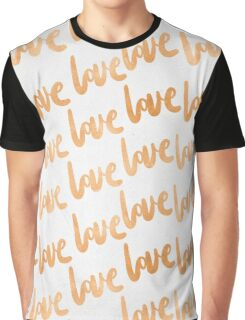 Valentines Day Copper Bronze Gold Love Word Typography Pattern Graphic T-Shirt