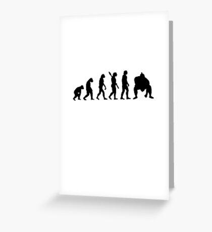 Human evolution of sumo wrestler Greeting Card