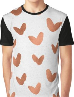 Valentines Day Rose Gold Hearts - Pink Love Pattern Graphic T-Shirt