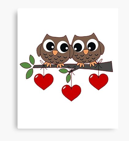 2 Owls My Valentine Day Canvas Print
