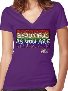 Beautiful As You Are - PFLAG Capital Region Mardi Gras Shirt 2017 Women's Fitted V-Neck T-Shirt