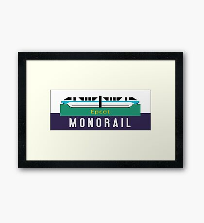Monorail Epcot Sign Framed Print