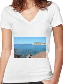 30 September 2016 The Red Beach on the Greek Island of Santorini Women's Fitted V-Neck T-Shirt