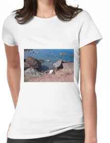 30 September 2016 The Red Beach on the Greek Island of Santorini Womens Fitted T-Shirt