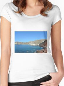 30 September 2016 The Red Beach on the Greek Island of Santorini Women's Fitted Scoop T-Shirt