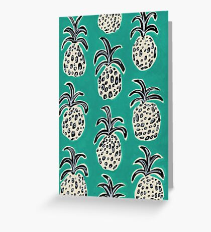 Teal pineapple Greeting Card