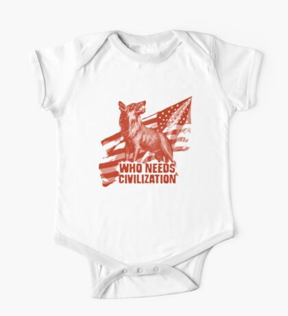 Who Needs Civilization - The American Wolf One Piece - Short Sleeve
