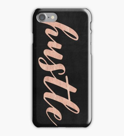 Hustle Rose Gold Text on Black Background - Typography Quote iPhone Case/Skin
