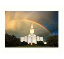 Jordan River Temple Under the Rainbow 30x20 Art Print