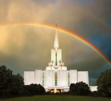 Jordan River Temple Under the Rainbow 30x20 by Ken Fortie