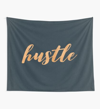 Hustle Text - Copper Bronze Gold and Navy Typography Quote Wall Tapestry