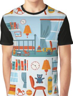 Children Bedroom Interior with Furniture and set of Toys Graphic T-Shirt