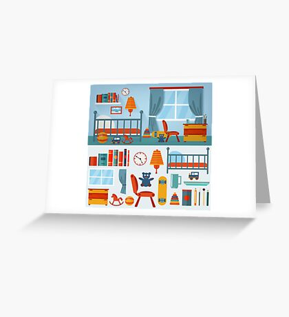 Children Bedroom Interior with Furniture and set of Toys Greeting Card
