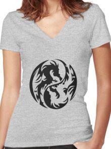 Tribal Dragons Women's Fitted V-Neck T-Shirt
