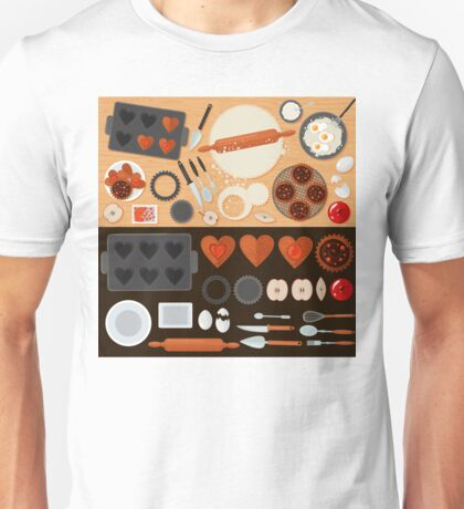 Bakery Sweets Set with Ingredients and Kitchen Tools Unisex T-Shirt