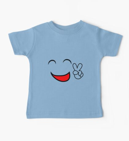 Emoticon smiling face showing peace sign Baby Tee