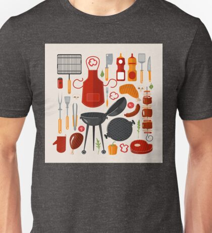 Grill Barbecue Set of Elements. Grilled Food Set with Kitchen Tools Unisex T-Shirt