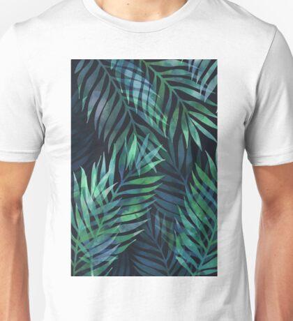 Dark green palms leaves pattern Unisex T-Shirt