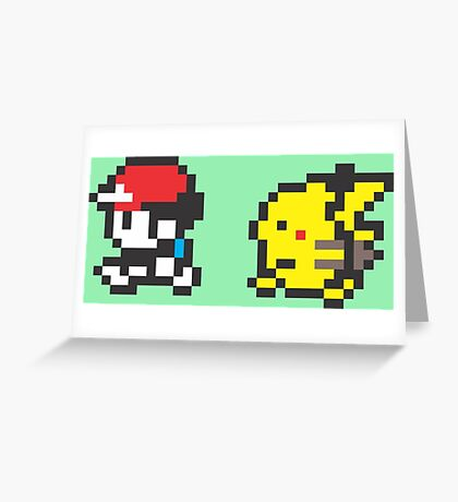 Red and Pikachu Stroll Greeting Card