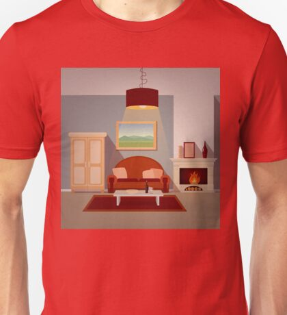 Modern Home Interior of Living Room with Fireplace. Home Sweet Home Unisex T-Shirt