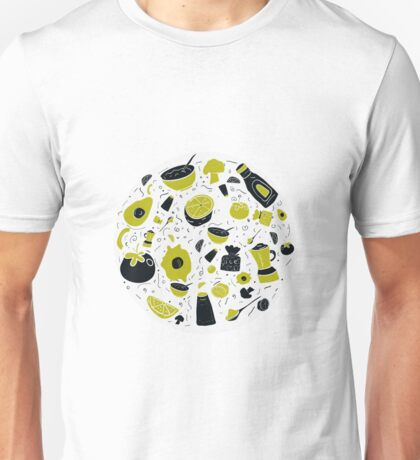 Food circle illustration with healthy doodle design vegetables like avocado, tomato Unisex T-Shirt