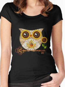 Owl's Autumn Song Women's Fitted Scoop T-Shirt