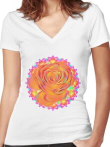 Psychedelic Rose Mandala  Women's Fitted V-Neck T-Shirt