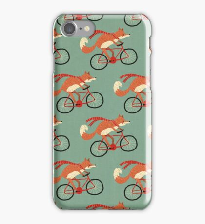fox on the bicycle pattern iPhone Case/Skin