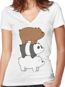 We Bare Bears - Stacked Up - Right Face Women's Fitted V-Neck T-Shirt
