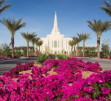 Gilbert Arizona Temple - Red Flowers 20x24 by Ken Fortie
