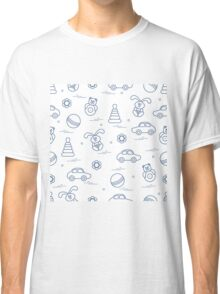 Vector pattern of different toys: car, pyramid, roly-poly, ball, hare, rattle. Classic T-Shirt