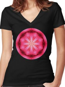 Heart Star Mandala Women's Fitted V-Neck T-Shirt