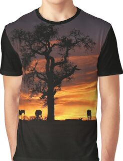 Southwestern Sunrise Color, Silhouetted Oak Tree and Three Horses Graphic T-Shirt