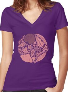 Pink forest Women's Fitted V-Neck T-Shirt